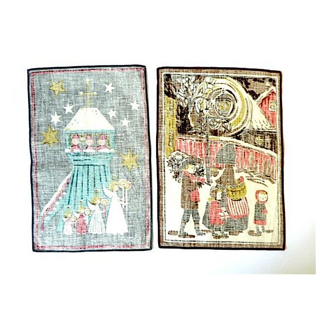 Vintage Screenprint MCM Linen Tea Towels - A Pair - Image 2 of 5