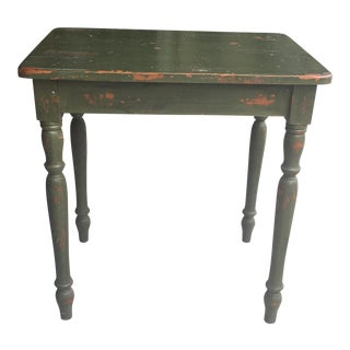 Antiqued Green Wooden End Table