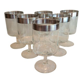 Dorothy Thorpe Mid-Century Silver Rim Cocktail Glasses - S/6