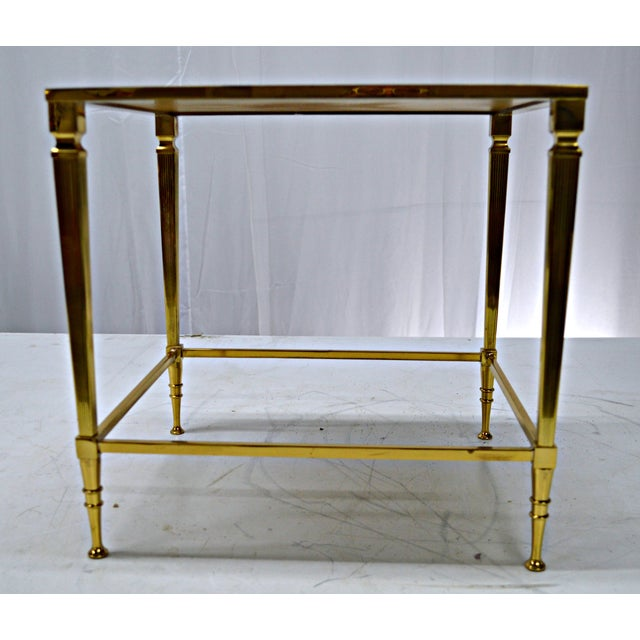 Neoclassical Brass & Glass Auxiliary Side Table - Image 10 of 10