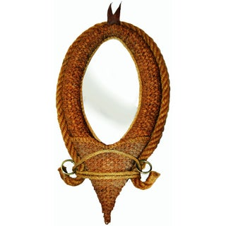 French Audoux & Minet Modernist Rope Mirror, 1960s