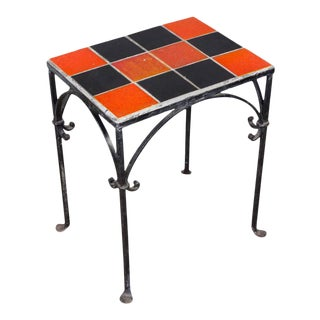 Iron Side Table With Ceramic Tiles