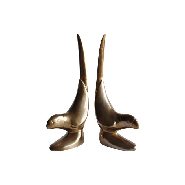 Vintage Brass Bird Bookends - Pair - Image 1 of 6