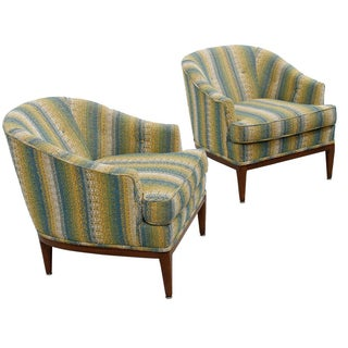 Designer Upholstered Club / Lounge Chairs - Pair