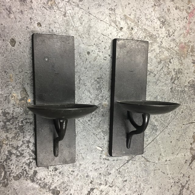 Wrought Iron Wall Candle Holders- A Pair - Image 3 of 5