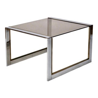 Mid-Century Chrome Brass and Glass Side Table