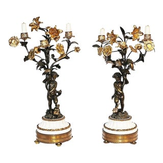 French Dore'-Bronze Candleabras - A Pair