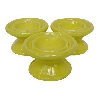 Yellow Ceramic Ashtrays - Set of 3