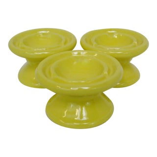 Yellow Ceramic Ashtrays - Set of 3