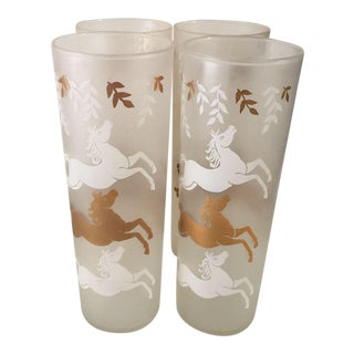 Mid-Century Flying Horses Frosted Tall Glasses - Set of 4