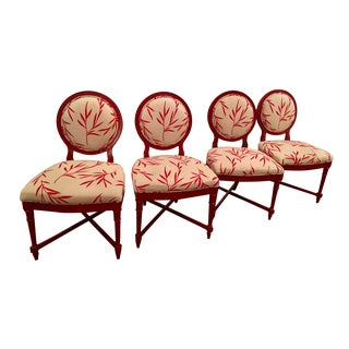 Red Bergere Chairs - Set of 4