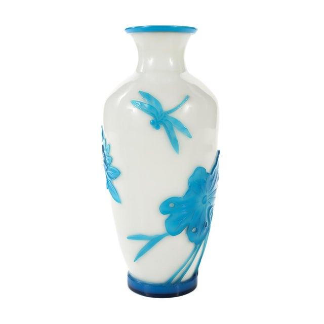 Chinese Peking Glass Blue & White Vases - Pair - Image 6 of 9
