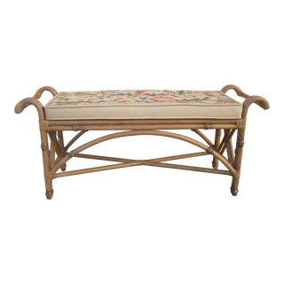 Boho Rattan & Bamboo Bench