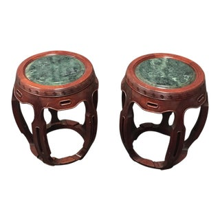 Vintage Chinese Rosewood & Jade Round Side Tables - A Pair