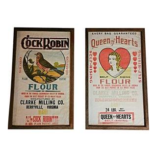 Framed Queen of Hearts & Cock Robin Linen Flour Sacks - Pair