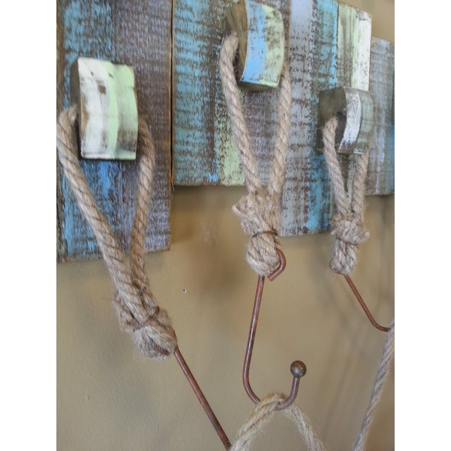 Vintage Life Rings and Weathered Wood Display Rack - Image 5 of 6