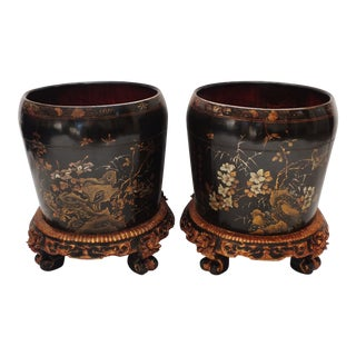 Antique Asian Gilt Lacquered Planters - a Pair