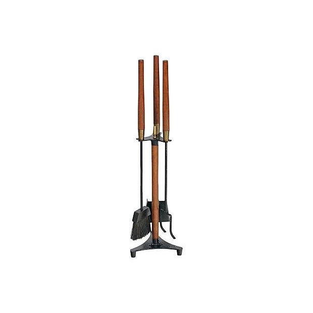 Image of Vintage 1960s Walnut-Handled Black Fire Tool Set