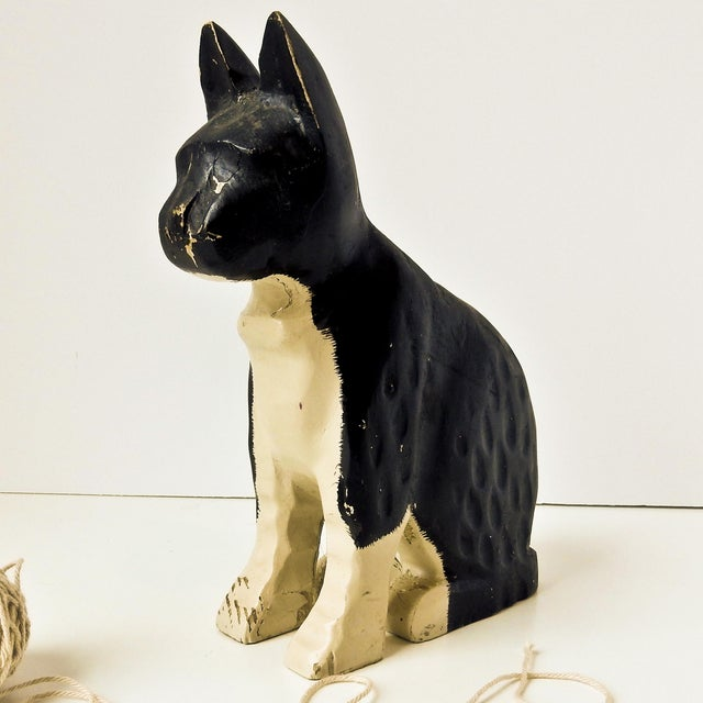 Hand-Carved Black & White Cat - Image 2 of 6