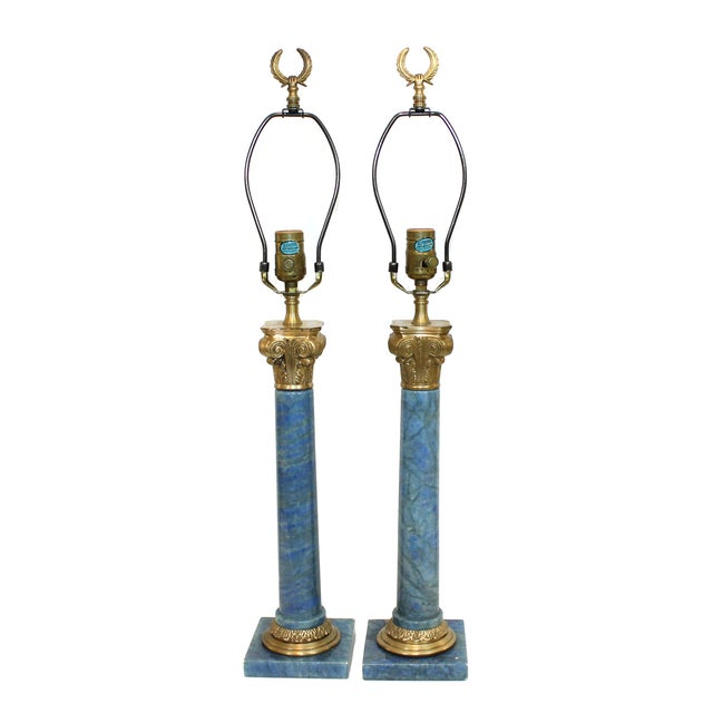 Hollywood Regency Neoclassical Column Lamps - Pair - Image 1 of 9