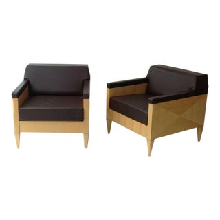 A pair of Solid Maple Lounge Chairs designed by Ken Rainhard for Gunlocke