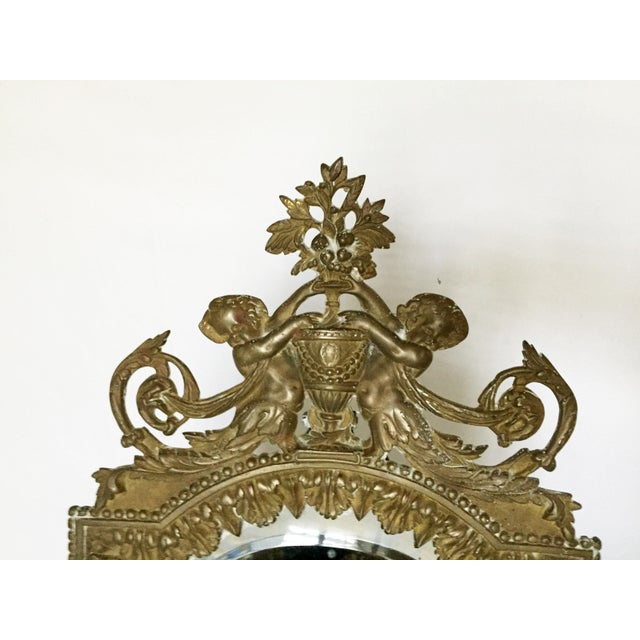 Antique Brass Cherub Table Top Easel Back Mirror - Image 3 of 5