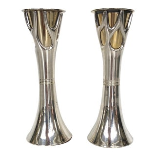Silver Plate & Brass Plate Candle Holders