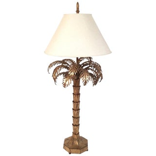 Gilt Metal Palm Tree Lamp