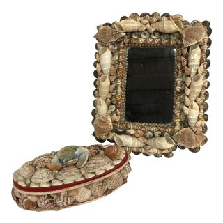 Vintage Shell Art Mirror and Box