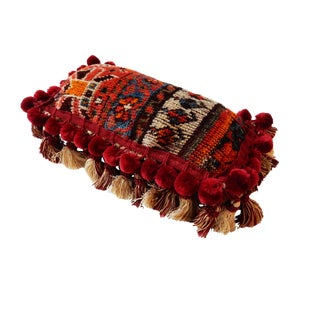 19th C. Tribal Kashqai Rug Lumbar Pillow