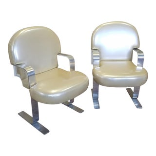1960s Vintage Pace Furniture Mid Century Aluminum Framed & Plastic Upholstered Cantilever Armchairs - a Pair