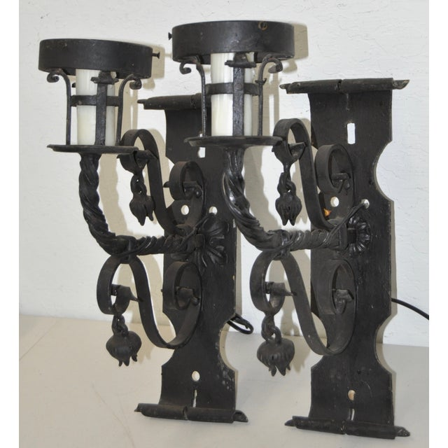 Antique Wrought Iron Wall Sconces - Pair - Image 3 of 8