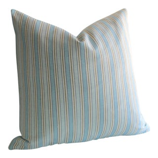 Blue Woven Stripe Pillow Cover