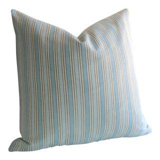 Blue Woven Stripe Pillow Cover