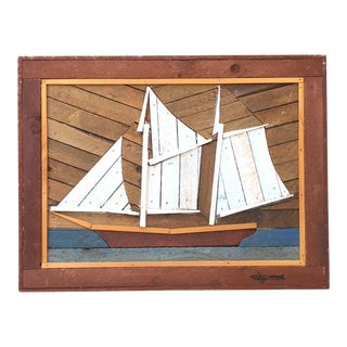 Large Folk Art Painted Wood Lathe Assemblage, Sailboat