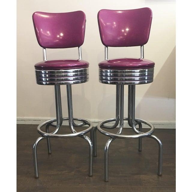 Purple Sparkle Vinyl & Chrome Barstools - a Pair - Image 2 of 6