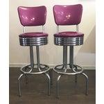 Image of Purple Sparkle Vinyl & Chrome Barstools - a Pair