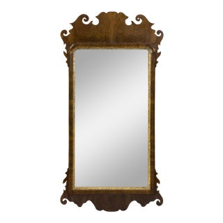 Antique English Queen Anne Walnut and Gilded Mirror