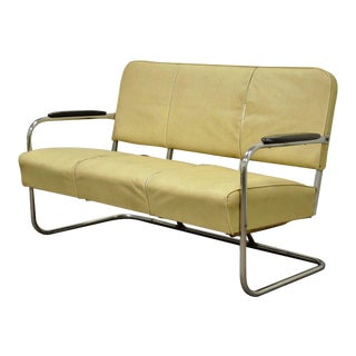 Vintage Kem Weber Lloyd Art Deco Tubular Chrome Sofa