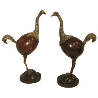 Vintage Wood & Bronze Ostriches - A Pair