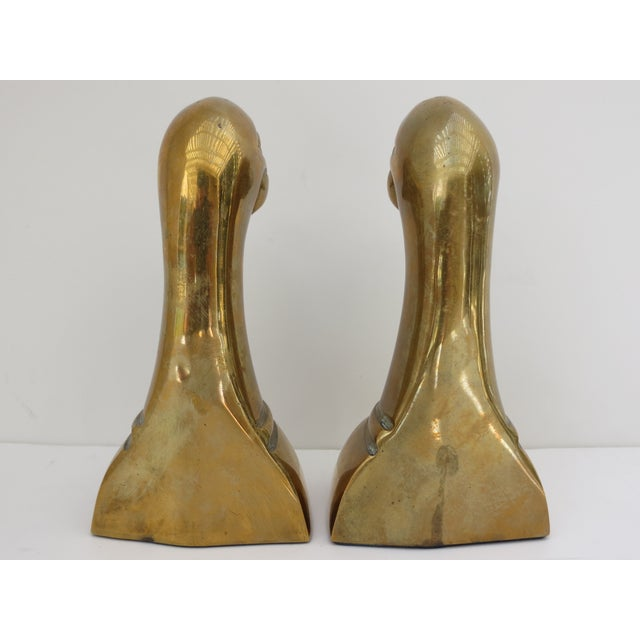 Image of Brass Duck Head Bookends - A Pair