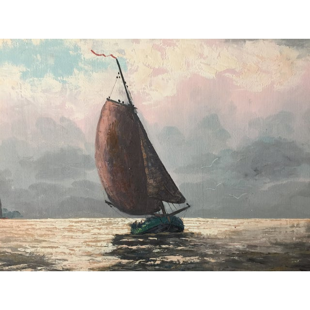 Oil Painting of Sailboats - Image 4 of 5
