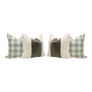 Dove Gray Linen Buffalo Check and Velvet Panel Pillows - Set of 4