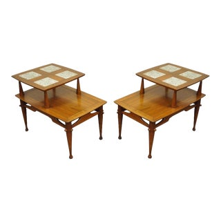 Vintage Mid-Century Danish Modern Tile Top Walnut Side Tables - A Pair