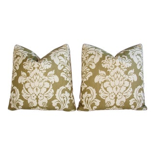 Designer Green & Cream Brule Damask Fabric Pillows - Pair