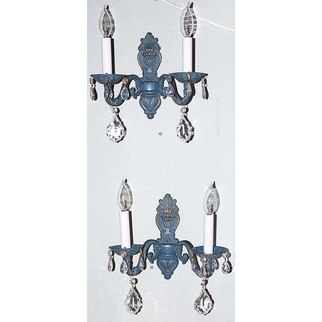 Blue Brass Sconces - Pair - Image 2 of 6