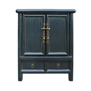 Chinese Rustic Black Lacquer End Table Nightstand