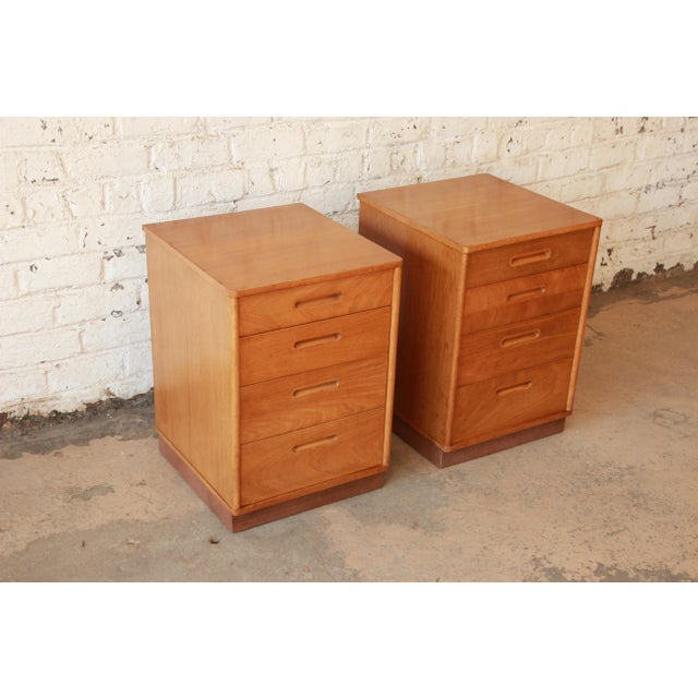 Image of Edward Wormley for Dunbar Mid-Century Nightstands - A Pair