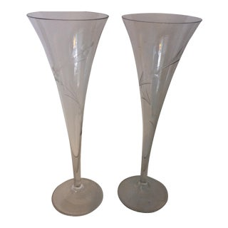 Vintage Crystal Etched Hollow Stem Champagne Flutes - A Pair