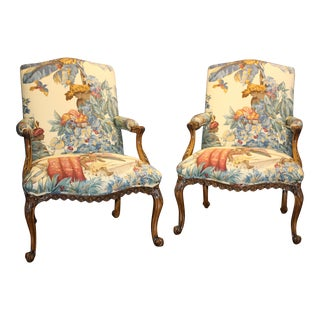 William Switzer Upholstered Bergere Armchairs - A Pair